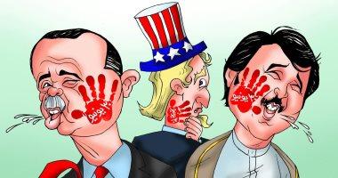 صفعة المصريين على وجه تميم وأردوغان فى 30 يونيو كاريكاتير ساخر باليوم السابع