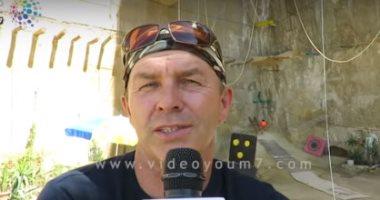 فيديو.. بولندي  ينشئ مدرسة لتعليم تسلق الجبال بدير سمعان الخراز بالمقطم
