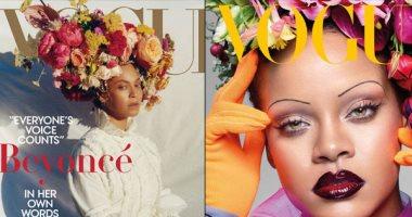 بيونسيه vs ريهانا.. جلسة تصوير للنجمتين بقبعة من الزهور على أغلفة مجلة فوج
