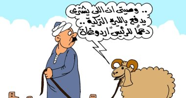 """خرفان عيد الأضحى يدعمون ليرة أردوغان فى كاريكاتير ساخر لـ""""اليوم السابع"""""""