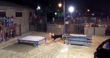 جنون التصوير.. امرأة تتعرض للنطح من ثور بقرون مشتعلة فى إسبانيا.. فيديو