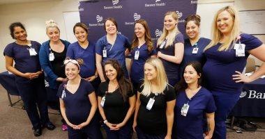 فى مستشفى واحد مؤتمر صحفى لـ 16 ممرضة حامل للحديث عن تجربة الحمل معا