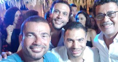 شاهد.. سيلفى عمرو دياب مع محمد إمام فى حضور عمرو عرفة