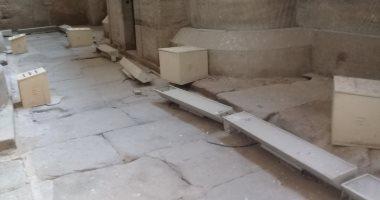 صور ..إضبط مخالفة.. تعطل كشافات الإنارة بمعبد إدفو بأسوان