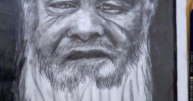 رسام الفيوم يشارك بلوحاته الفنية.. ويؤكد: حلمى اللالتحاق بكلية فنون جميلة