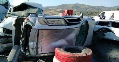 توقف حركة المرور أعلى طريق السويس الصحراوى بعد إصابة شخص فى حادث تصادم