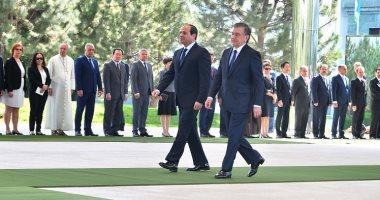 مراسم استقبال الرئيس السيسى فى القصر الجمهورى بالعاصمة الأوزبكية طشقند
