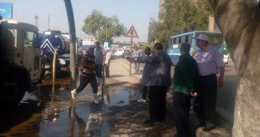 كسر ماسورة مياه عكرة بتقاطع شارع صلاح سالم مع العروبة