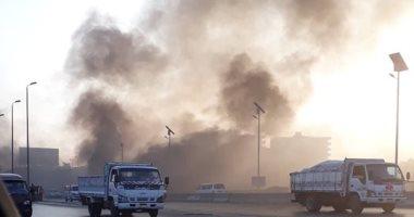 """صور.. قارئ يشارك """"صحافة المواطن"""" بصور لحريق أسفل كوبرى وصلة المريوطية"""