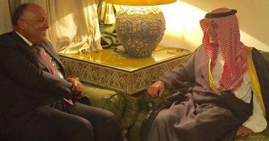 وزير الخارجية يناقش مع نظيره السعودى سبل تجفيف مصادر تمويل الإرهاب