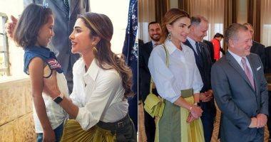صور الملكة رانيا تخلط التصميمات العربية بالعالمية فى إطلالة أنيقة