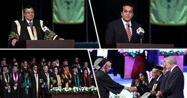 وزير التعليم العالى ومحافظا شمال وجنوب سيناء وحسن راتب الليلة فى احتفالية جامعة سيناء على المحور
