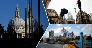"""صور.. مؤشرات متضاربة تزيد الغموض حول مستقبل بريطانيا الاقتصادى بعد """"بريكست"""".. ناطحات السحاب والمطاعم تعلن التحدى أمام النظرات المتشائمة.. وتوجس الشركات ورجال الأعمال يثير قلق البريطانيين حول مستقبل وظائفهم"""