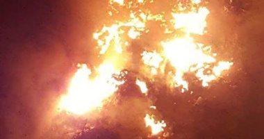 الحماية المدنية تحاول السيطرة على حريق قمامة بترعة الاسماعيلية بشبرا الخيمة