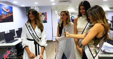 صورة اليوم.. سيلفى ملكات جمال مصر للكون فى صالة تحرير اليوم السابع
