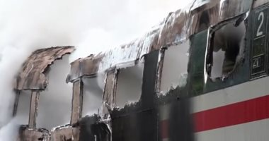 شاهد.. 67 ثانية تحبس الأنفاس أثناء احتراق قطار سريع فى ألمانيا