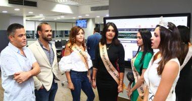 """صور.. ملكة جمال مصر miss egypt ووصيفاتها فى صالة تحرير """"اليوم السابع"""""""