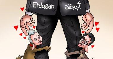 """محمد ناصر ومعتز مطر كلاب الإخوان بكاريكاتير """" اليوم السابع"""""""
