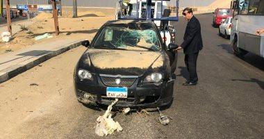 إصابة شخصين فى حادث انقلاب سيارة أعلى طريق صحراوى الصف