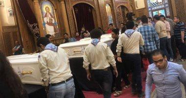 صلوات الجنازة على جثامين شهداء حادث المنيا بكنيسة الأمير تادرس