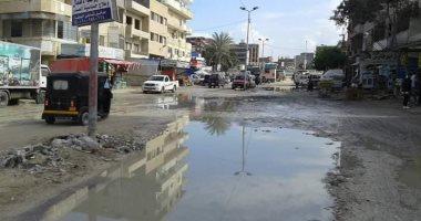 إنفجار ماسورة مياه تغرق مدخل مدينة المنصورة ومناشدة بسرعة إصلاحها