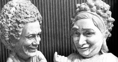 """""""مارى منيب والملك"""".. تمثالان جديدان لـ""""مى عبد الله"""" نحاتة المنيا الشهيرة"""