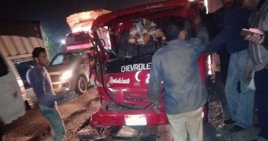 صور.. فريق الكرة الطائرة بنادى حدائق الأهرام يتعرض لحادث بعد مباراة دمنهور