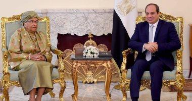 الرئيس السيسى ورئيسة ليبيريا السابقة