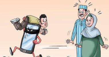 """التكنولوجيا تختطف الأبناء فى كاريكاتير ساخر لـ""""اليوم السابع"""""""