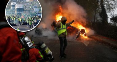 """بث مباشر.. تواصل المواجهات بين الشرطة الفرنسية و """"السترات الصفراء"""" بباريس"""