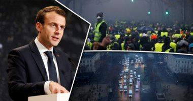 """ماكرون يرجع إلى الخلف.. الرئيس الفرنسى يمتص غضب """"السترات الصفراء"""" بـ 100 يورو شهريا فقط.. ويؤكد: الاحتجاجات سببها ضائقة مالية عمرها 40 عام.. وبعض الساسة """"بحثوا عن الفوضي"""".. والعنف لن يقابل بأى تساهل"""