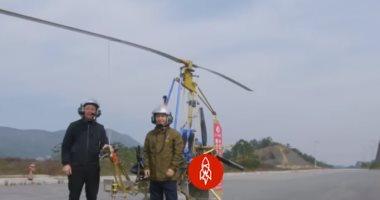 """شاهد.. مزارع صينى يحلق بطائرة يدوية مصنوعة من """"الخردة"""""""