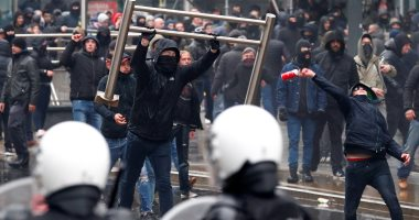 فيديو وصور.. مظاهرات فى العاصمة البلجيكية بروكسل احتجاجا على قانون الهجرة