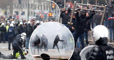 مشاهد من مظاهرات بروكسل الدامية