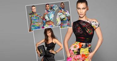 صور.. بيلا حديد وإيرينا شايك يتألقان فى أزياء فيرساتشى لربيع وصيف 2019