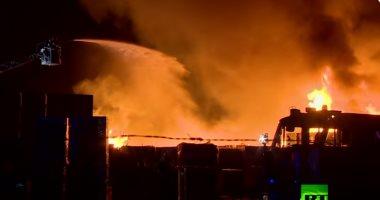 الدفع ب7سيارات إطفاء للسيطرة على حريق مصنع للمراتب بالقناطر الخيرية