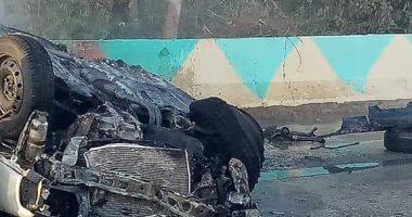 نجاة قائد سيارة من الموت بعد تفحمها بمدينة ناصر شمال بنى سويف