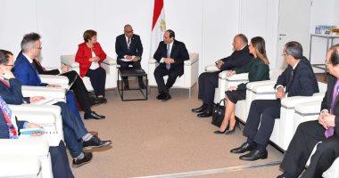 الرئيس عبد الفتاح السيسى  خلال لقائه مع  الرئيسة التنفيذية للبنك الدولي