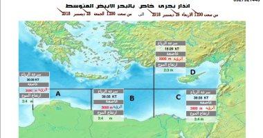 الأرصاد: سحب رعدية وأمطار وتدهور الرؤية الأفقية على البحر المتوسط