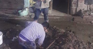 """استجابة لـ""""اليوم السابع"""".. مياه القاهرة الكبرى تصلح ماسورة بعزبة رستم"""