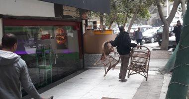 حى العجوزة يرفع إشغالات المقاهى بمنطقة المهندسين.. صور