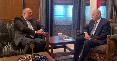 """رئيس برلمان لبنان لـ""""سامح شكرى"""": نتطلع لتكثيف التنسيق مع مصر بمجال الغاز"""