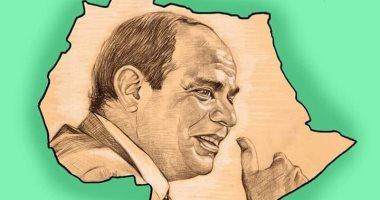 السيسي يقود القارة السمراء فى كاريكاتير اليوم السابع