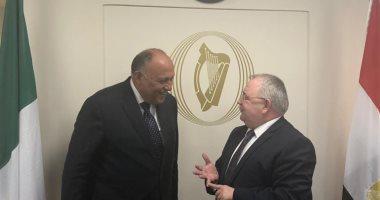 وزير الخارجية يطلع رئيس البرلمان الأيرلندى على جهود مصر بمجال العمل الأهلى