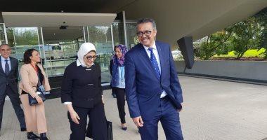 وزيرة الصحة تلتقى رئيس منظمة الصحة العالمية لبحث نقل الخبرات المصرية لإفريقيا