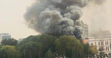 فيديو.. حريق بالقصر الرئاسى القديم بالسودان