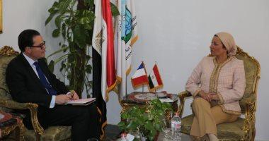 وزيرة البيئة تستقبل السفير الفرنسى وتتلقى دعوة لاجتماع وزراء الدول الصناعية