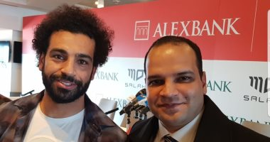 اللاعب المصرى محمد صلاح والزميل أحمد يعقوب داخل استاد آنفيلد