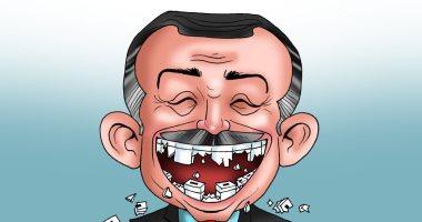 أردوغان بلا انياب بعد خسارة حزبه الانتخابات المحلية في كاريكاتير اليوم السابع