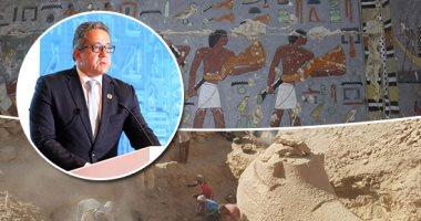 """وزير الآثار يتفقد مقبرة """"خوى"""" أحد النبلاء فى عهد الملك جدكارع بجنوب سقارة"""